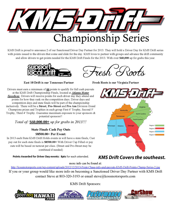 KMS Drift is proud to announce 2 of our Sanctioned Driver Day Partner for 2013