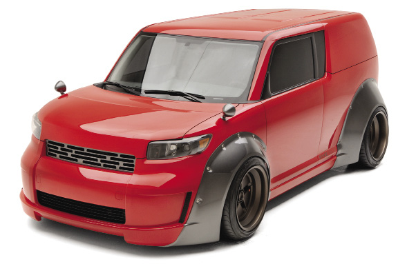 Built upon a strong trend in Japan, the Five Axis Scion xB DJ 2.0 integrates elements of the BoSoZuKu style. The cartoon-esque widebody classic cars, with outrageous racing themed stripes and negative offset wheels were once considered outcasts in the JDM tuning world.