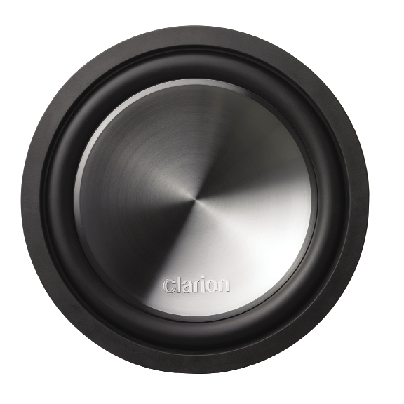 "The Clarion WQ3010D is a 12"" dual voice coil woofer, utilizing a stamped steel basket. The woofer is very nicely finished, with a spun aluminum look cone, although the cone you see is really a full diameter concave dustcap, and is actually formed of injection molded polypropylene, with the Clarion logo embossed in it."