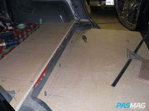 First, the floor sheet is installed utilizing stock seat bolts.