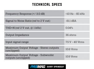 Audiomobile LDV6 Technical Specs PAS