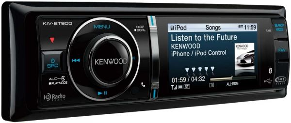 As you'd expect, the single DIN chassis KIV-BT900 is fully compatible with iPod and iPhone devices, and includes a high speed cable connection for those products. A bright and easy to read 3-inch full color TFT LCD provides info on your music source as well as album art, and can also display full color photos.