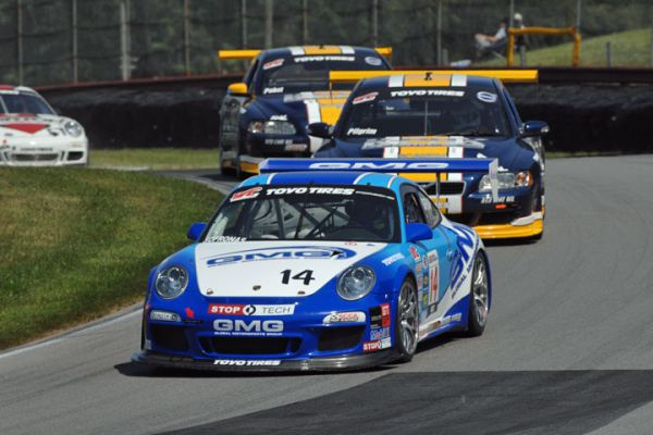 James Sofronas, of Newport Beach, Calif., led every lap to win the Optima Batteries Mid-Ohio Grand Prix Presented by GameStreamer Sunday, holding off Andy Pilgrim at the finish of the World Challenge Championship Round Nine race.