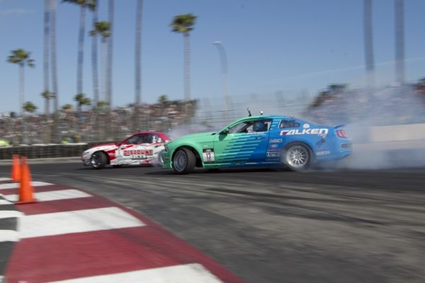 Justin Pawlak in the Falken Tire Ford Mustang earned the victory at the first event of the 2011 Formula DRIFT season.