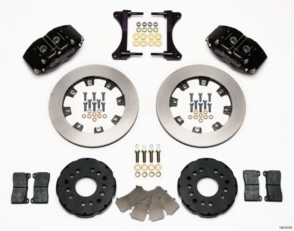 The Wilwood part number 140-9193 disc brake kit features Billet Dynapro calipers, caliper brackets, 12.00-inch vented rotors with aluminum hats, BP-10 brake pads and all of the hardware required to complete the installation. Also ordered but not shown is the Wilwood part number 220-7009 Braided Stainless Steel Hose Kit.