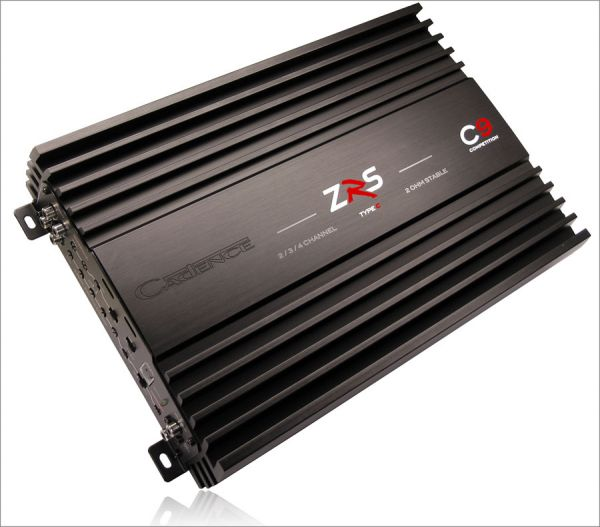 The Cadence ZRS C9 is a full range Class AB four channel amplifier. Rated at 100 watts x 4 into 4 ohms, and 150 watts x 4 into 2 ohms, the amp I unpacked was relatively large and looked like it meant business. The C9 features a black anodized brushed aluminum heatsink that measures a bit over 15 inches long, 9.6 inches wide, and about 2.3 inches tall.