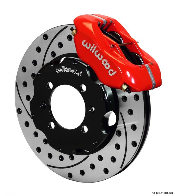 The kit features Wilwood's popular Dynalite 4-piston calipers for some serious clamping force. The caliper can be ordered in either red or black for a personalized look. The rotors are Wilwood's 2-piece design featuring lightweight aluminum hats bolted to cast iron discs to resist warping. The compact 11-inch rotors can be ordered in regular or slotted and drilled surfaces to dissipate heat.