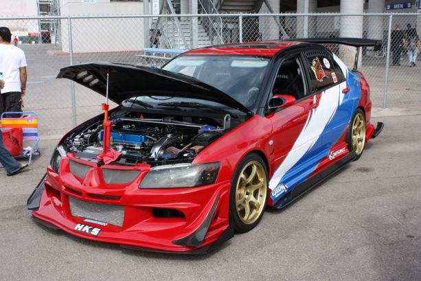 Many show cars turned out in force including this hooked-up Evo sporting the red. white and blue pride!