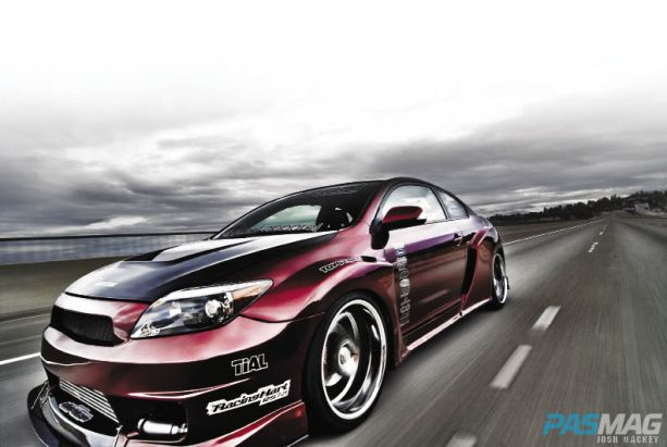 PASMAG 2005 Scion tC Cynce Tester Red Alert Dezod AIT Widebody House of Kolor Kandy Apple Red rolling