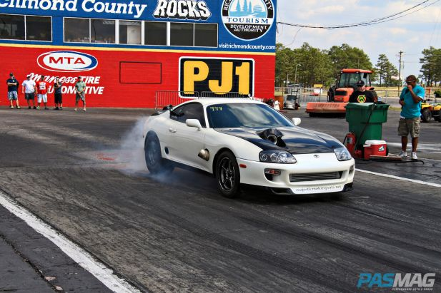 PASMAG-KMS-Drift-Rockingham-North-Carolina-Apr-13-2014-Denton-Byrd-Burn-Out-Toyota-Supra-Staging-Drag-Race