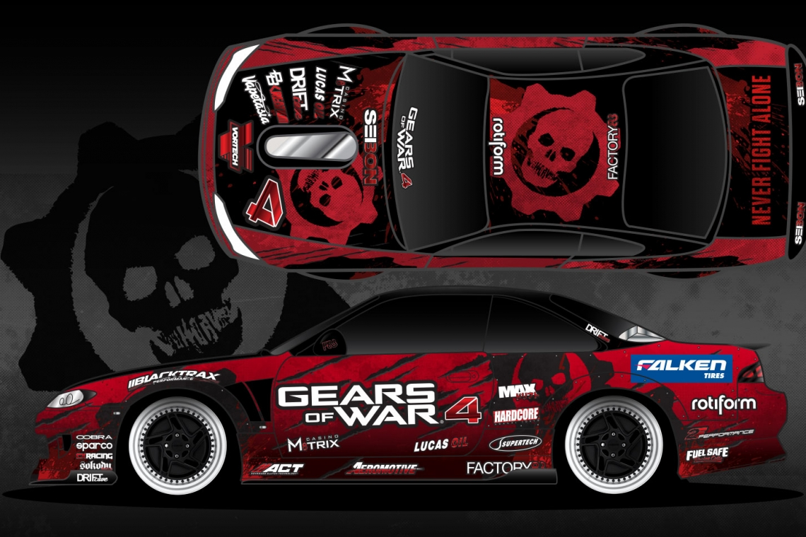 Formula DRIFT Pro Driver Matt Field To Unveil New Gears Of War 4 Livery at Round 8: Title Fight This Weekend