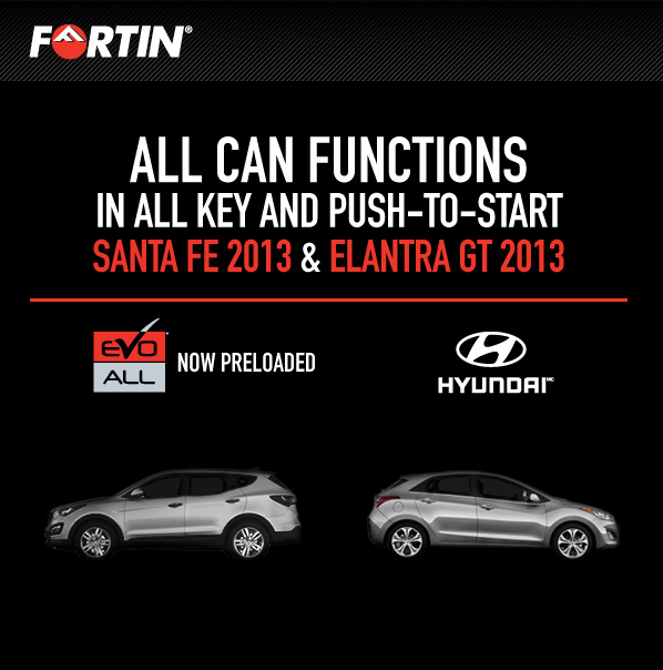 Fortin's EVO-ALL: Now all CAN functions for Elantra GT 2013 & Santa Fe 2013 are preloaded