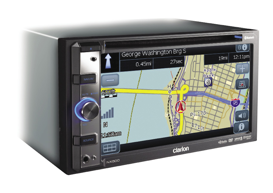 "The Clarion NX500 DVD/Navigation receiver is a double DIN chassis unit, incorporating the latest and greatest features that everyone wants in their ride. Incorporating a 6.5-inch QVGA color touch screen monitor, the $999.00 NX500 is fully self-contained, and does not require an outboard ""black box."""